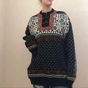 Vintage Handmade Norwegian Design Sweater